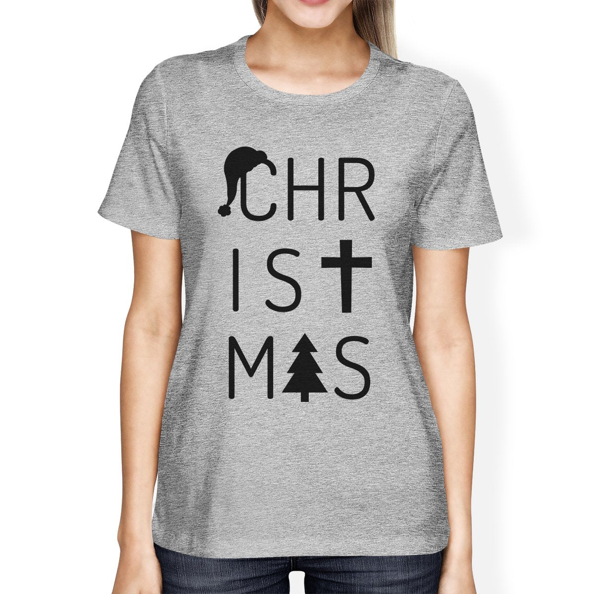 Christmas Letters Womens Grey Shirt