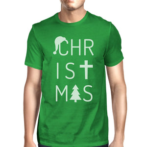 Christmas Letters Mens Green Shirt
