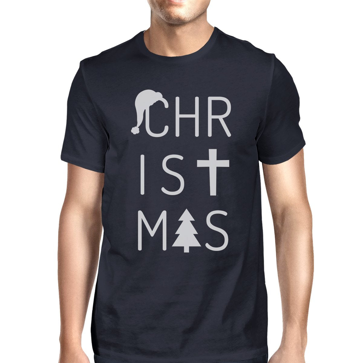 Christmas Letters Mens Navy Shirt