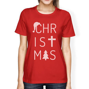 Christmas Letters Womens Red Shirt