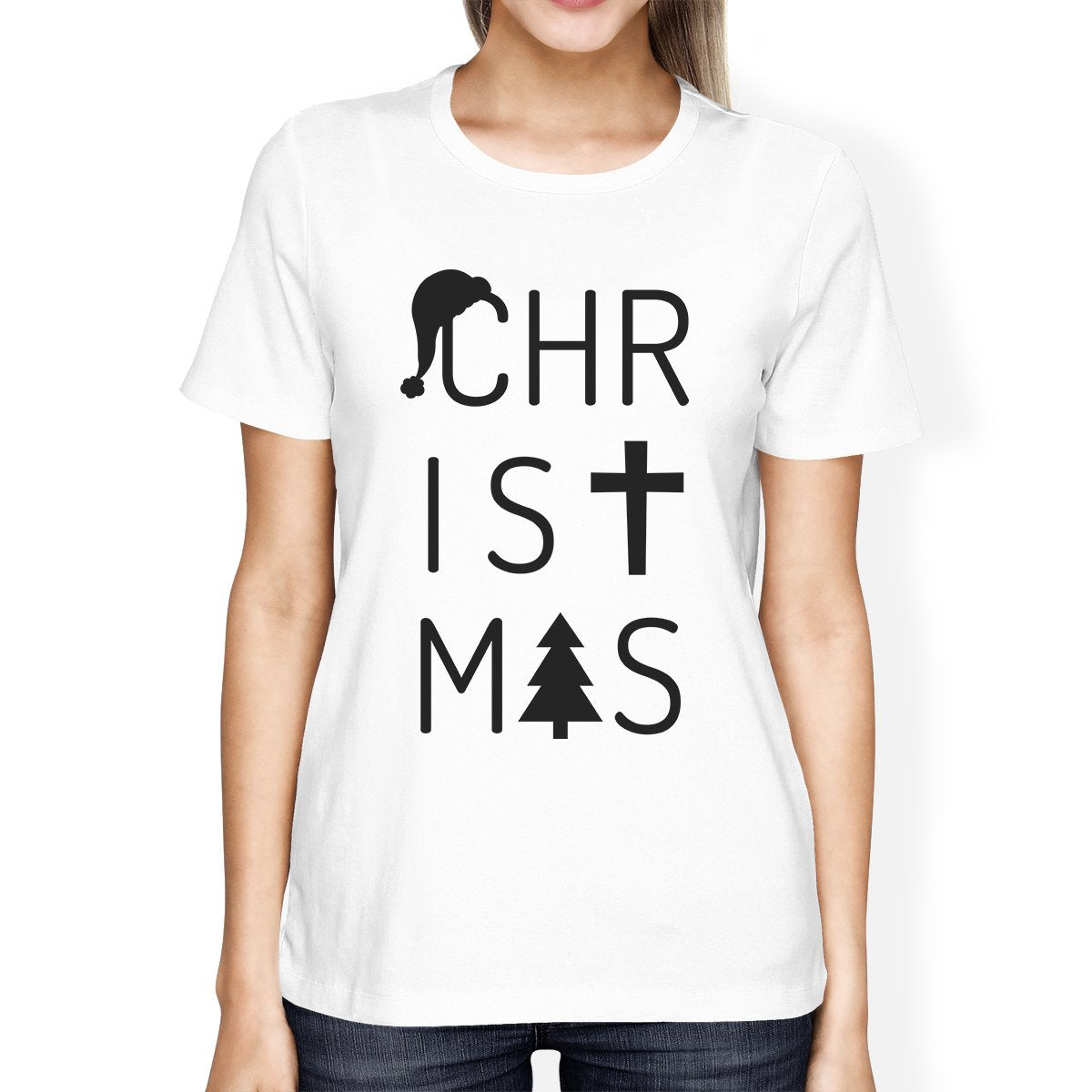 Christmas Letters Womens White Shirt