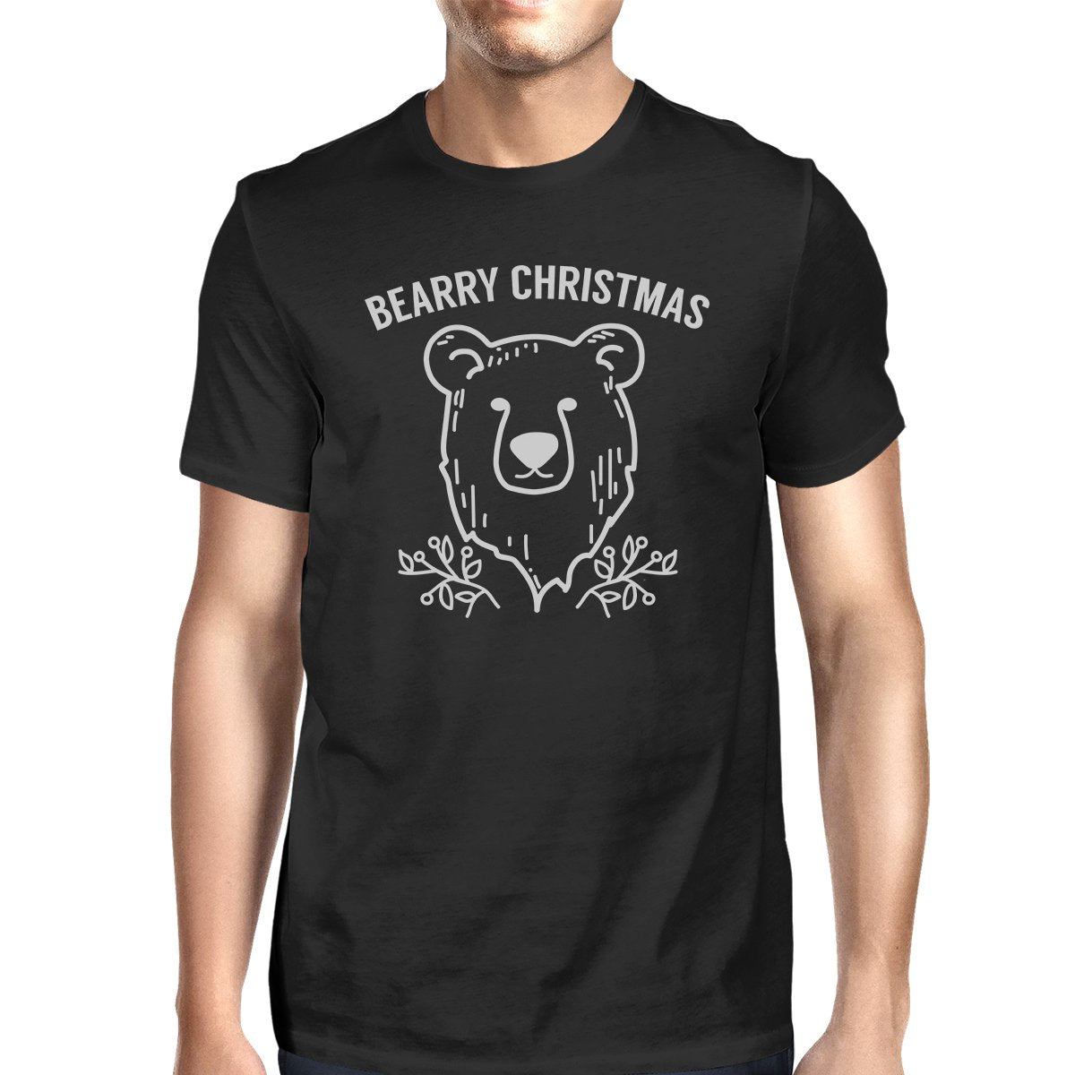 Bearry Christmas Bear Mens Black Shirt