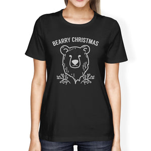 Bearry Christmas Bear Womens Black Shirt