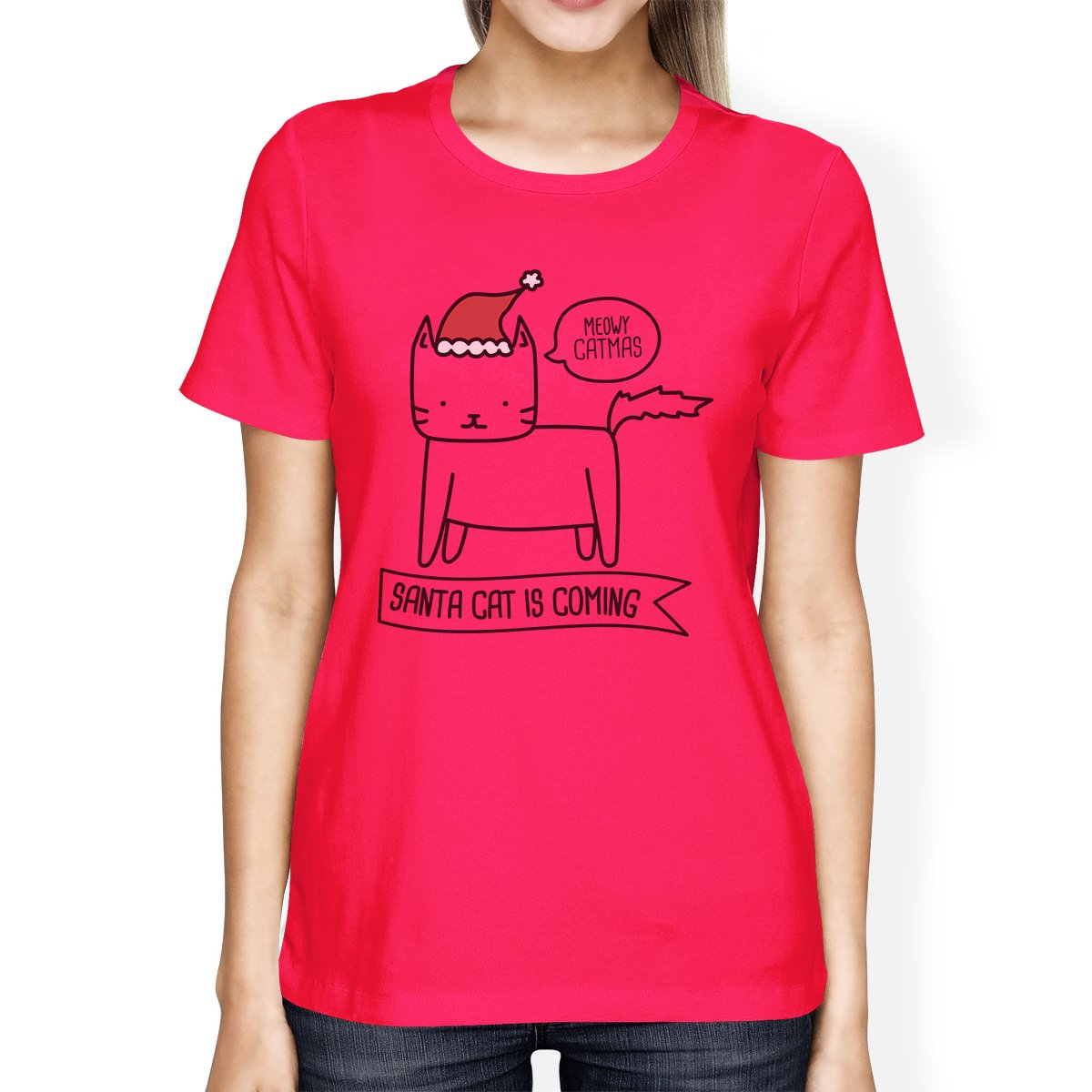 Meowy Catmas Santa Cat Is Coming Womens Hot Pink Shirt