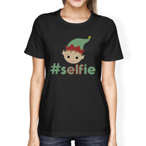 Hashtag Selfie Elf Womens Black Shirt