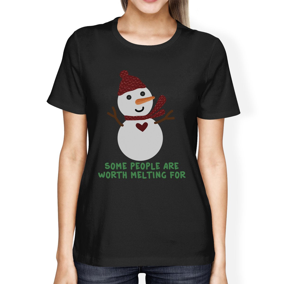 Some People Are Worth Melting For Snowman Womens Black Shirt