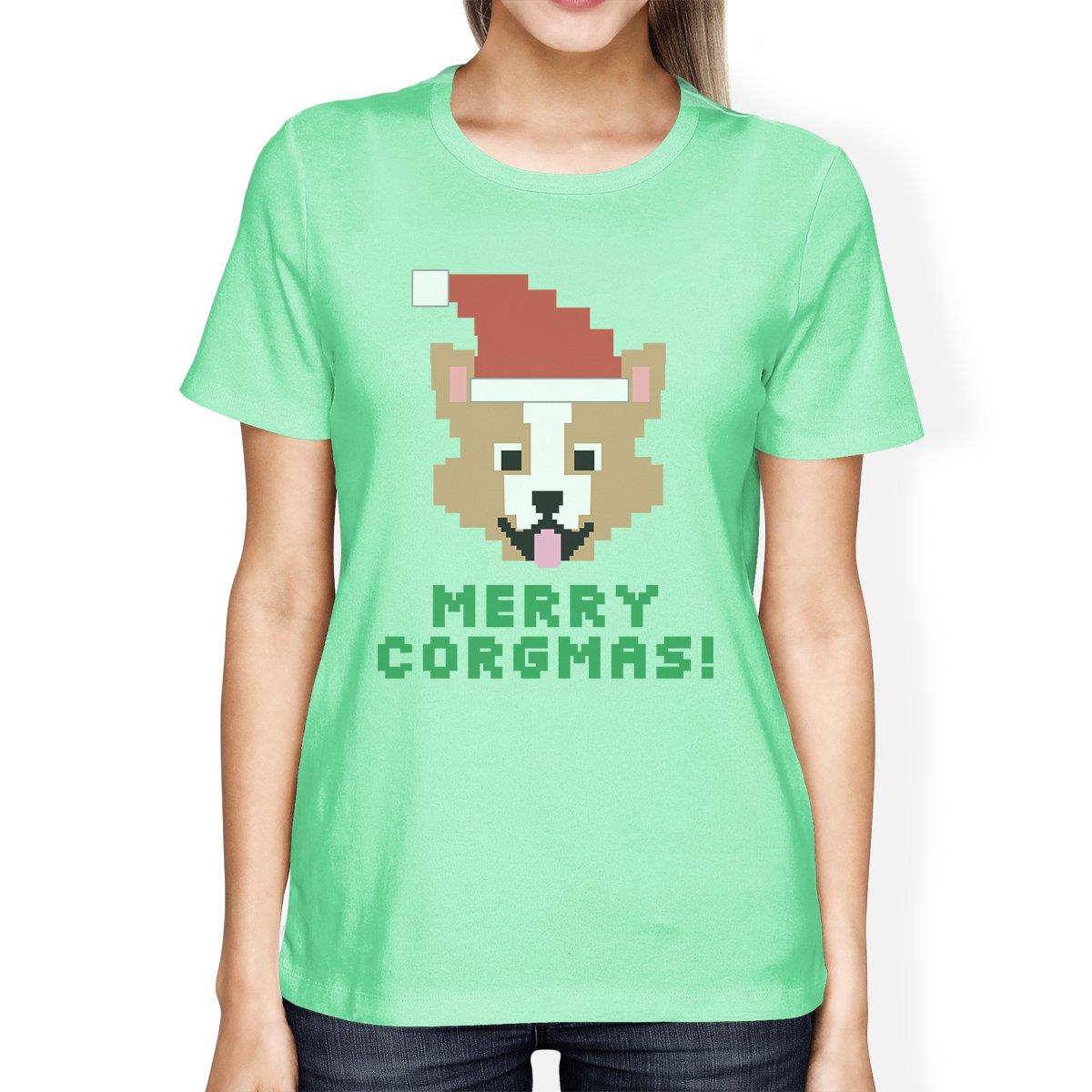 Merry Corgmas Corgi Womens Mint Shirt