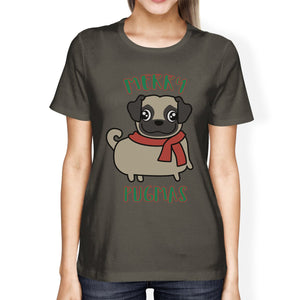 Merry Pugmas Pug Womens Dark Grey Shirt