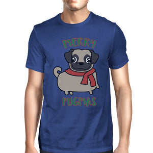 Merry Pugmas Pug Mens Royal Blue Shirt