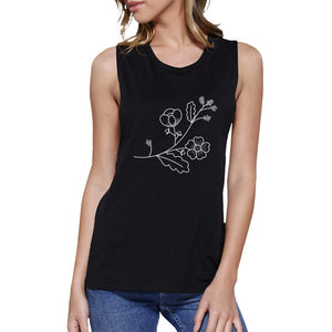 Flower Black Muscle Top Lovely Design Racerback Tank Top For Her