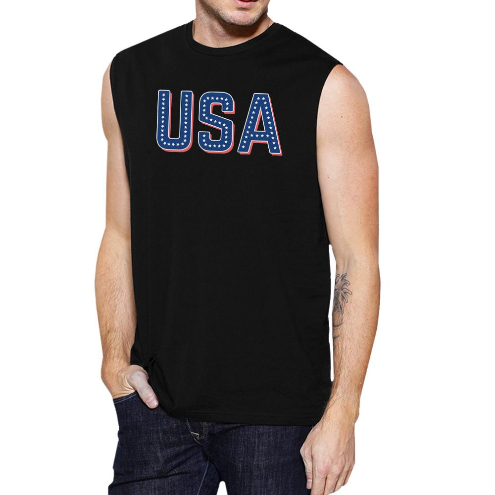USA With Stars Mens Cotton Muscle Top Unique USA Letter Printed Top