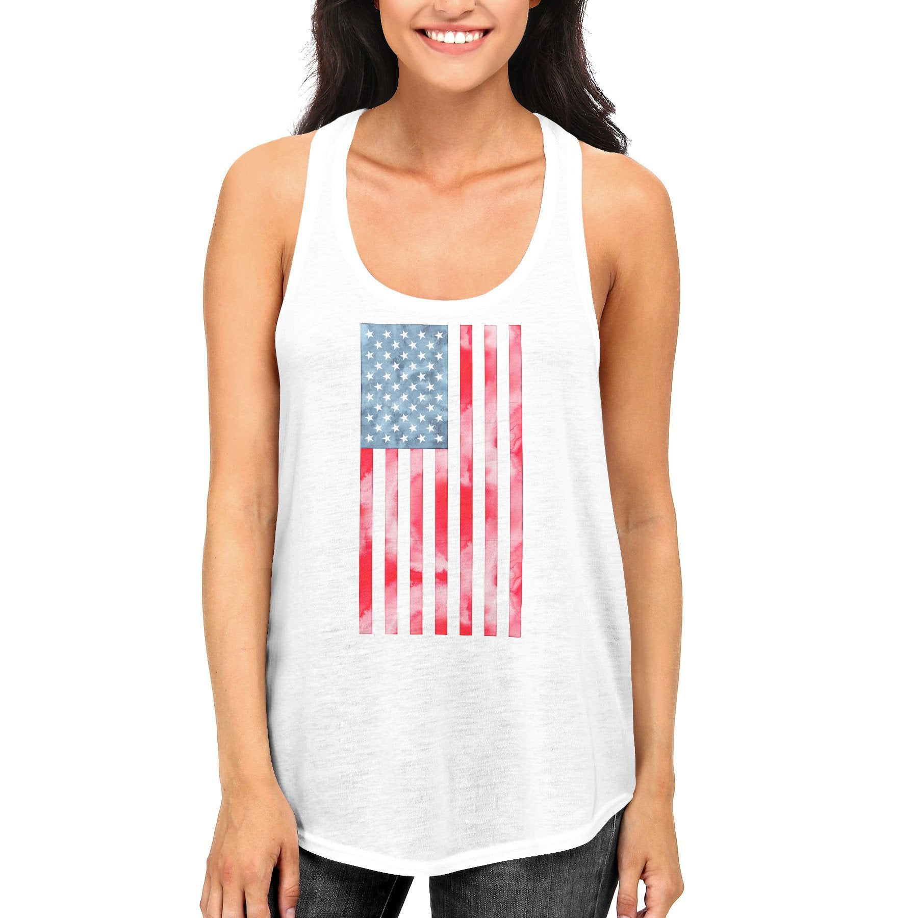 USA American Flag Women's White Tank