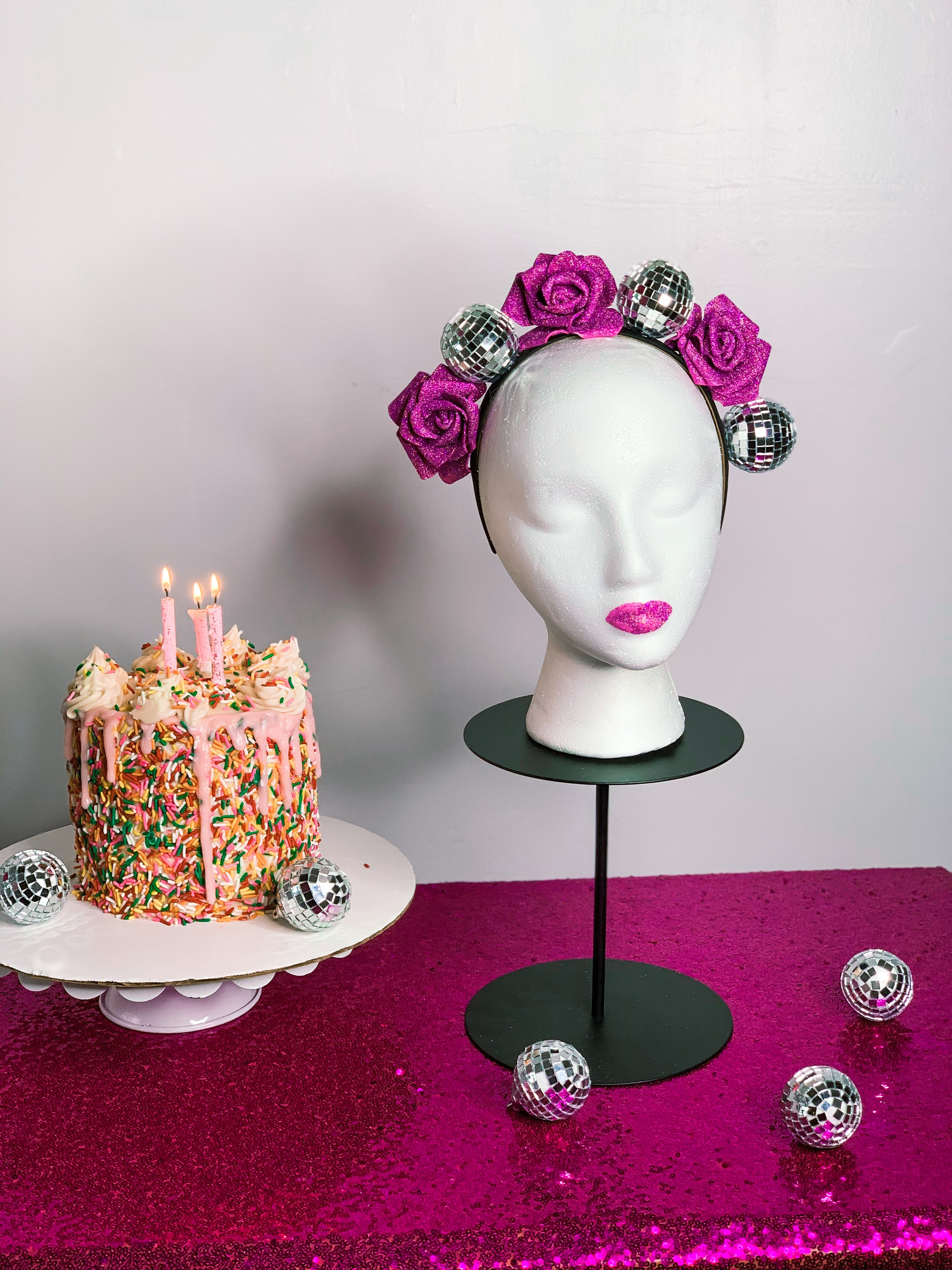 Floral Disco Ball Crown