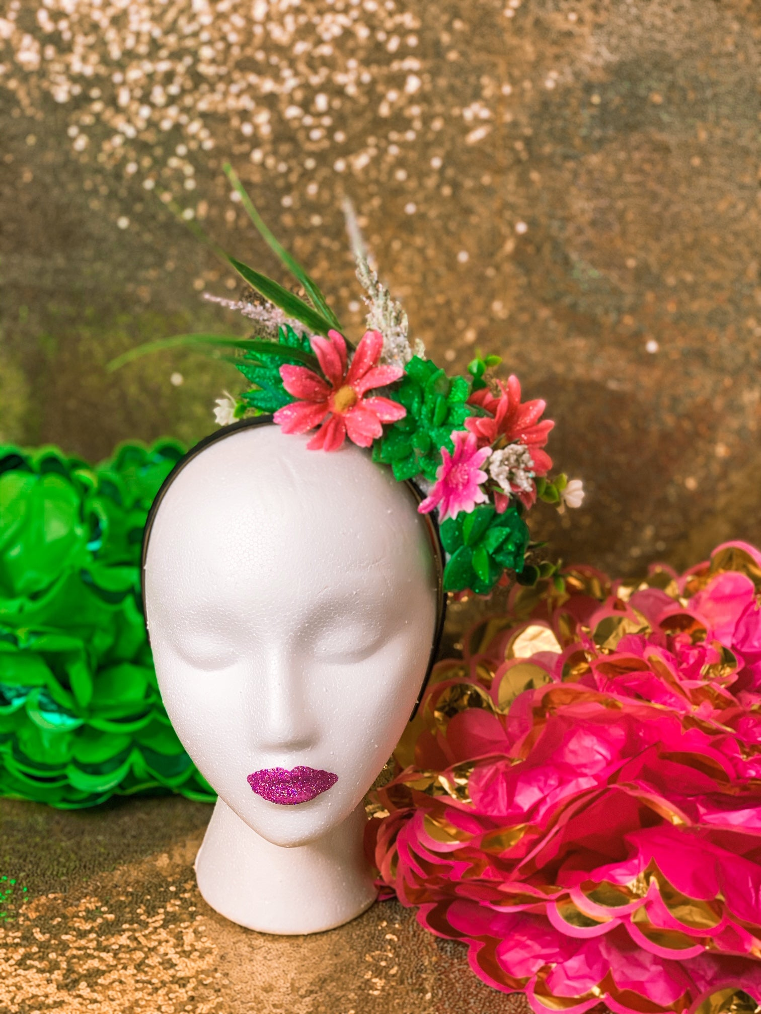Crowned by Ellie sparkly succulent and bright pink floral crown