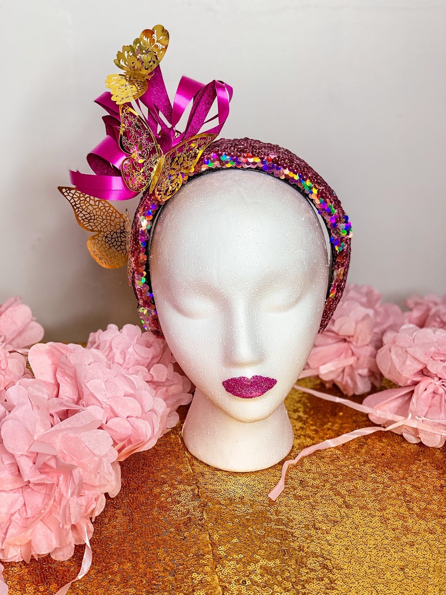 Crowned by Ellie Golden Butterfly crown with rainbow pink and silver holographic reversible sequins