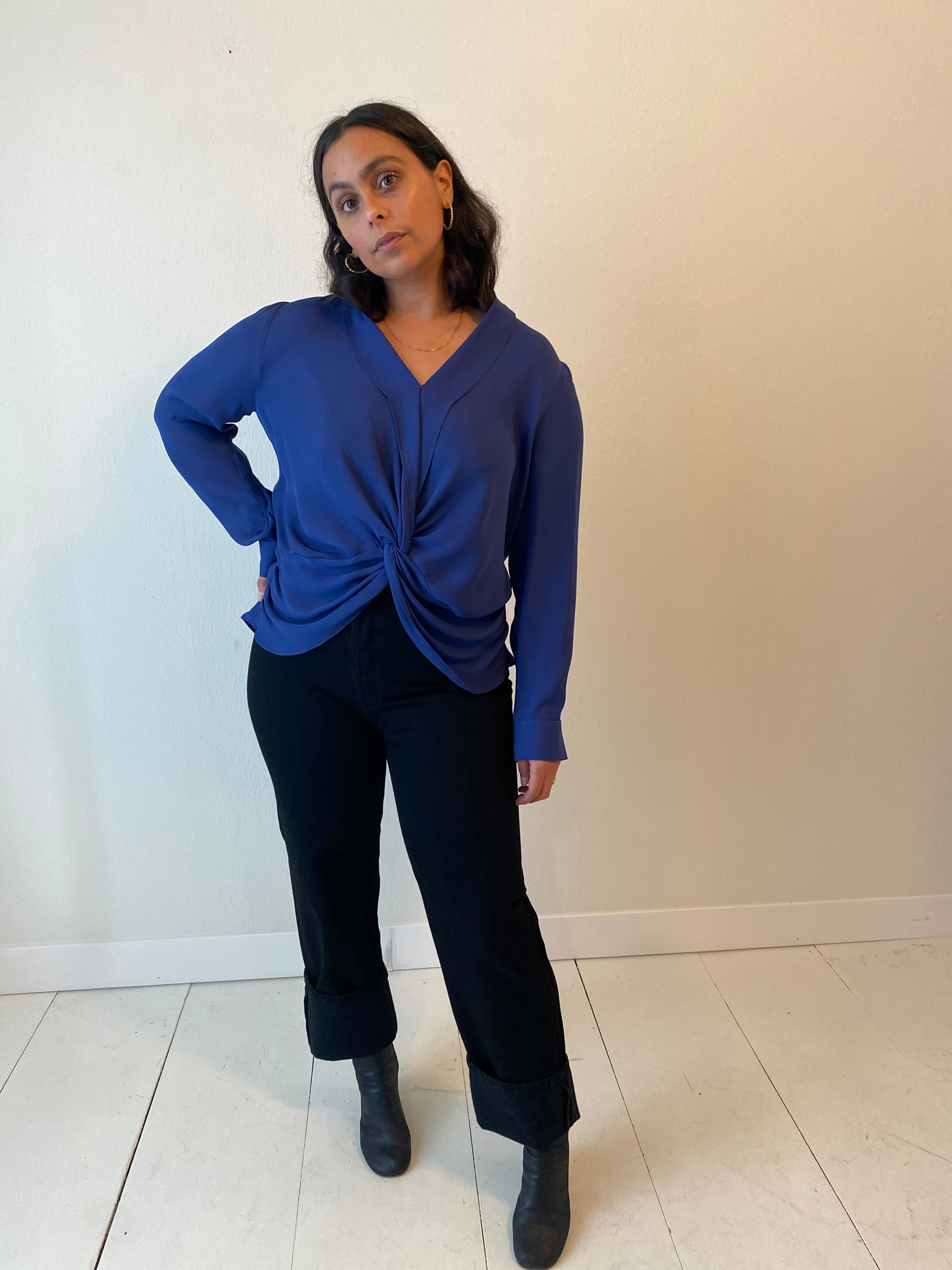 (L) Lagence Blue Silk Blouse