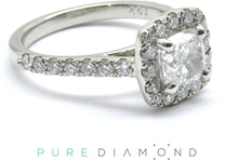 Soft Corner Cushion Halo Engagement Ring