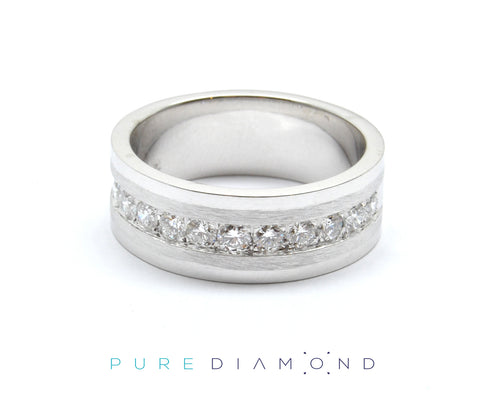 White gold Brushed and Polished Wedding Band