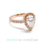 Perpetual Rose Gold Pear Shape Halo Ring