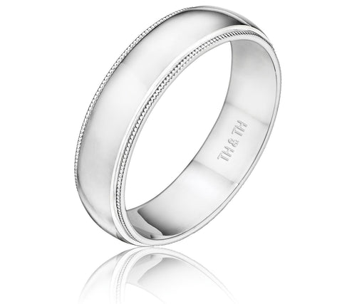 Understated milgrain half round wedding band