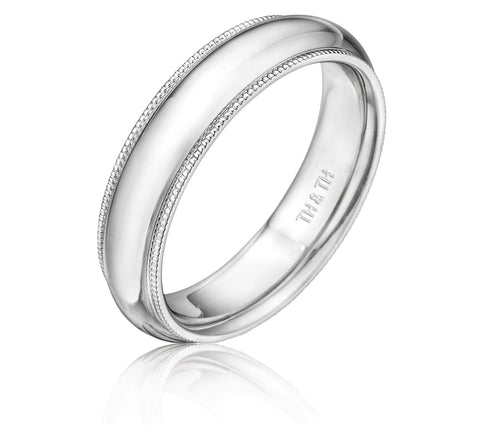 Elegant milgrain comfortable fit wedding band