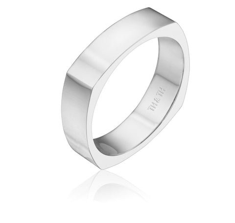 Elegant four sided wedding band