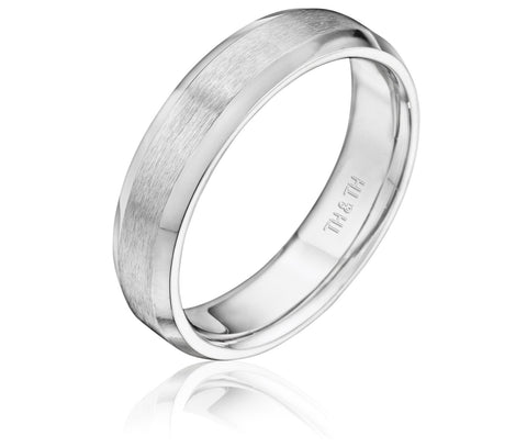 Beveled comfortable fit wedding band