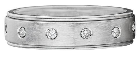 Brushed center and round diamond band