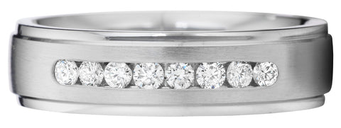 Matte finish with eight channel set diamond band