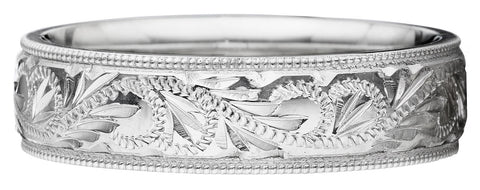 Beautiful hand engraved comfortable fit band