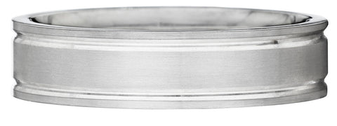 Simple cut grooves wedding band