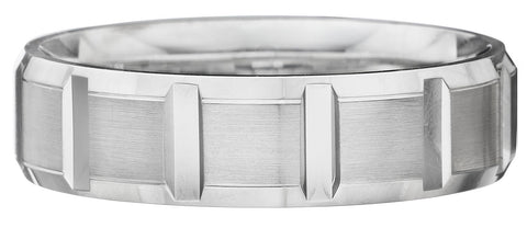 Contrasting mix of brushed surfaces wedding band