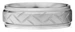Contrasting woven pattern center wedding band