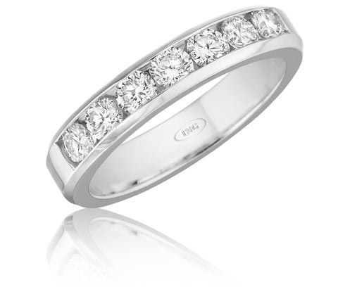 Classic seven stone round diamond wedding band