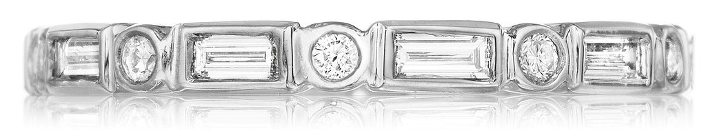 Bezel set stackable wedding ring