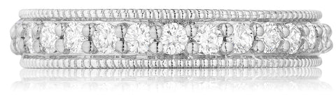 Single row milgrain diamond wedding band