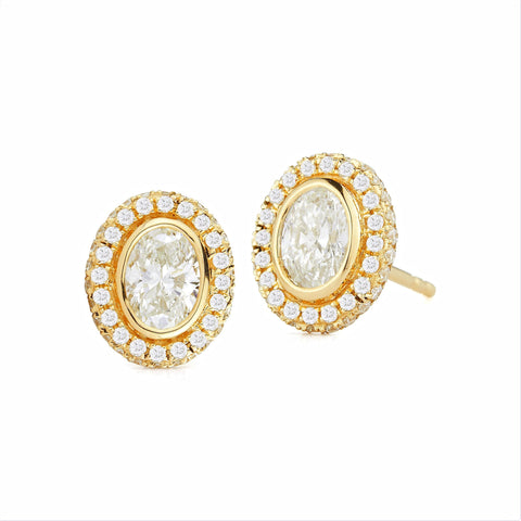 Afternoonified Oval Bezel Halo Diamond Studs
