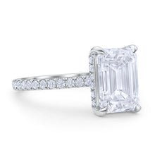 Emerald Cut Diamond Pave Engagement Ring