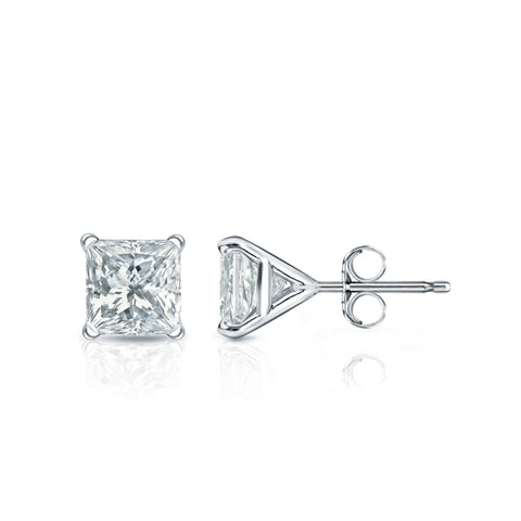 Diamond Stud Earrings Princess Cut