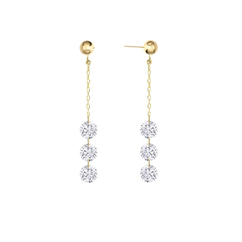 Six Round Diamond Drop Earrings