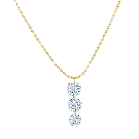 Graduated Three Round Diamond Pendant Necklace