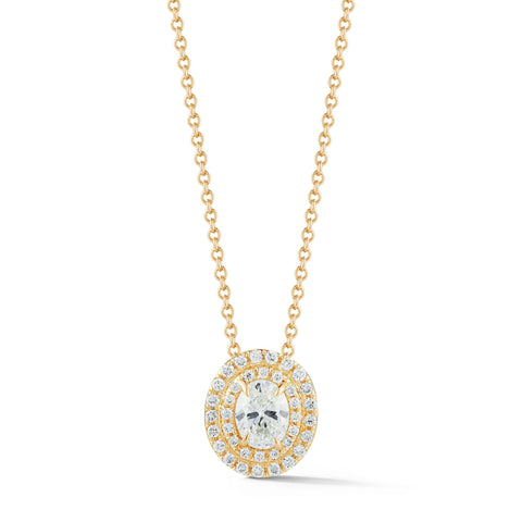 0.50-70 Ct Double Halo Oval Diamond Pendant