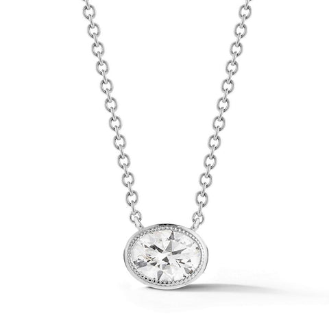 Civilised Oval Diamond Pendant