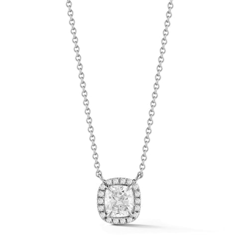 0.50-70 Ct Single Halo Cushion Diamond Pendant