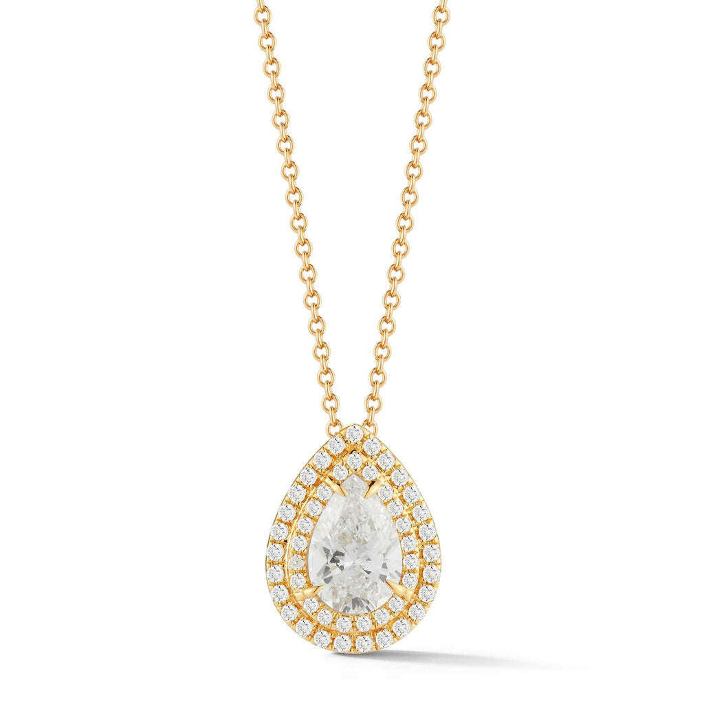 0.50-70 Ct Double Halo Pear Diamond Pendant