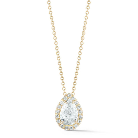 0.50-70 Ct Single Halo Pear Diamond Pendant