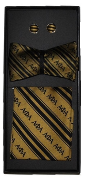 Alpha Phi Alpha 100% (self-tie) Silk Bow Tie/Cuff Links Set