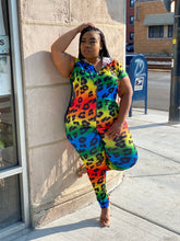 Load image into Gallery viewer, Rainbow cheetah jumpsuit