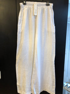 ETERNELLE LINEN STRAIGHT LEG PANT WITH POCKET-WHITE