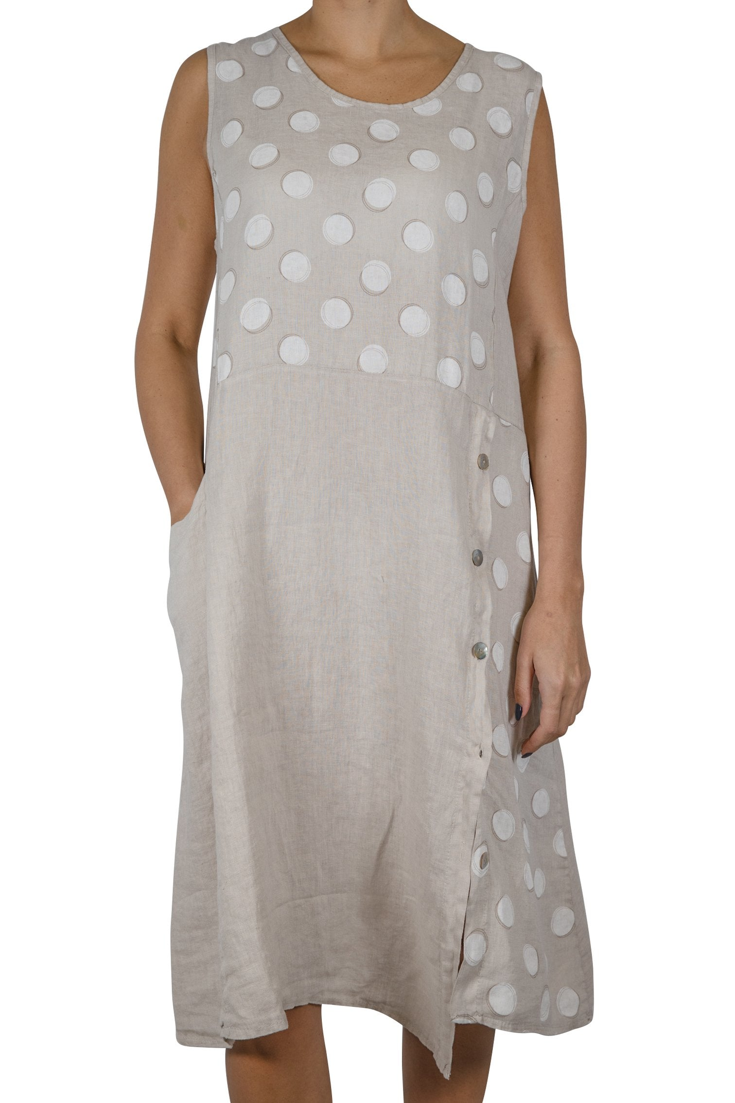 ETERNELLE LINEN DRESS WITH POLKA DOTS-TAUPE